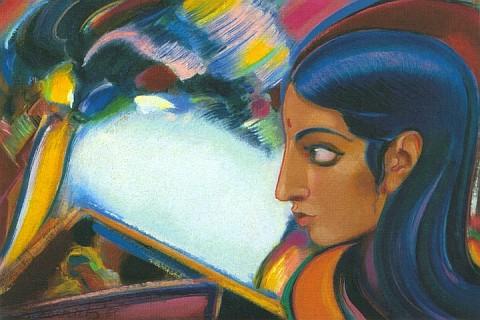 С.Н.Рерих. Этюд. (Женщина в профиль на фоне пейзажа). 1960